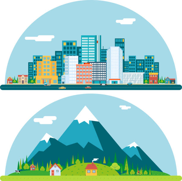 illustrazioni stock, clip art, cartoni animati e icone di tendenza di primavera paesaggio urbano di città e campagna villaggio immobiliare estate - real life