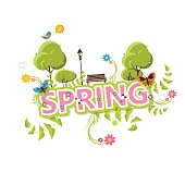 Spring Vector Design. Spring Letterin with flowers and green bush.