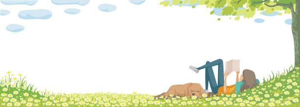 spring - reading stock illustrations