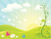 Vector illustration of an idyllic  spring landscape with butterflies, flowers, clouds and rising sun.