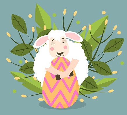 spring vector illustration of a sheep hugging a decorated egg. On the theme of spring and happy Easter