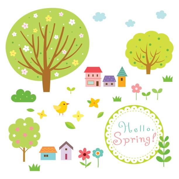春の村と自然の要素セット - 草原点のイラスト素材/クリップアート素材/マンガ素材/アイコン素材