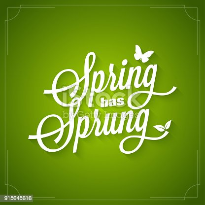 Spring vintage lettering. Spring has sprung  on green background