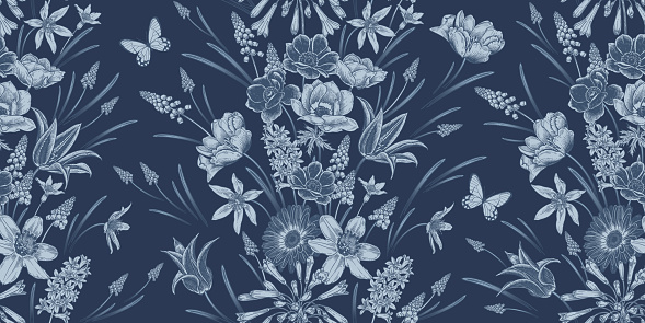 Spring Vintage Seamless pattern. Flowers and butterflys. Navy blue color. Vector.