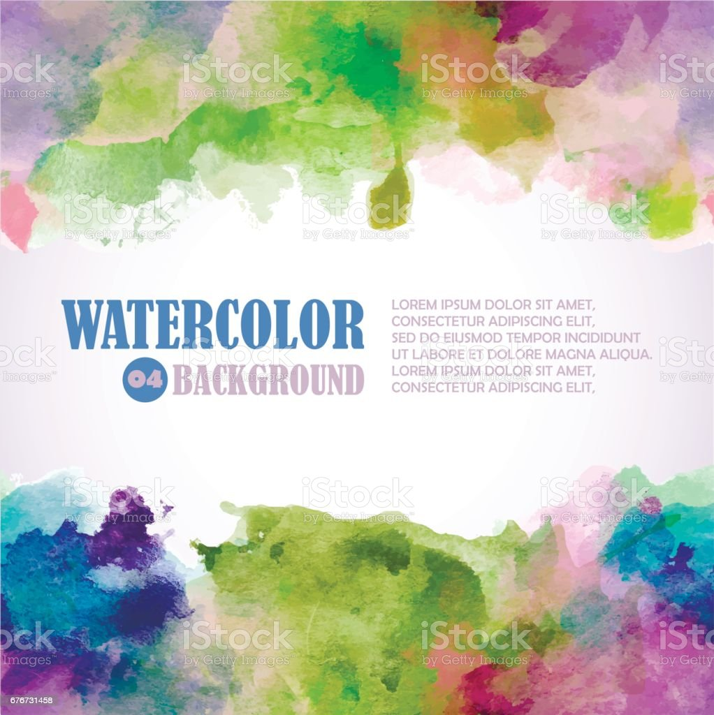 Spring Watercolor background with place for text. Green, pink, violet, blue colors. vector art illustration