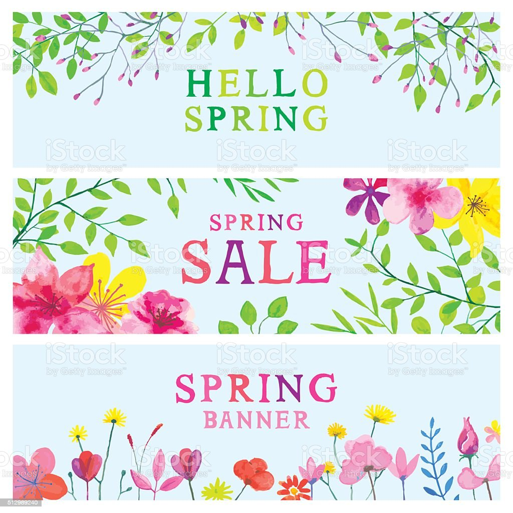 Spring watercolor banners vector art illustration