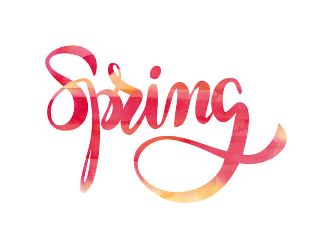 Spring watercolor typography vector art illustration