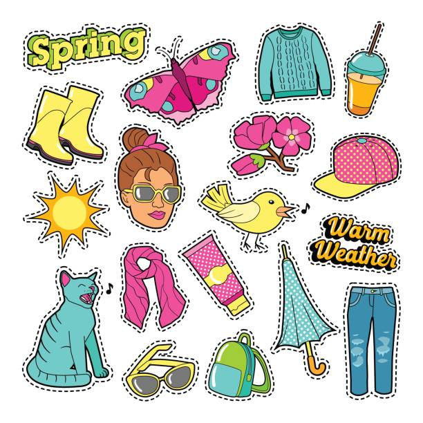 spring woman fashion with clothes and accessories - spring fashion stock illustrations, clip art, cartoons, & icons