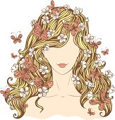 Illustration of woman with flowers and butterflies in her hair isolated on white background. EPS 8.