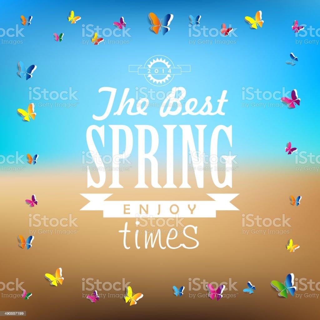 春のワード抽象的な背景ペーパー蝶 のイラスト素材 490557199 | istock