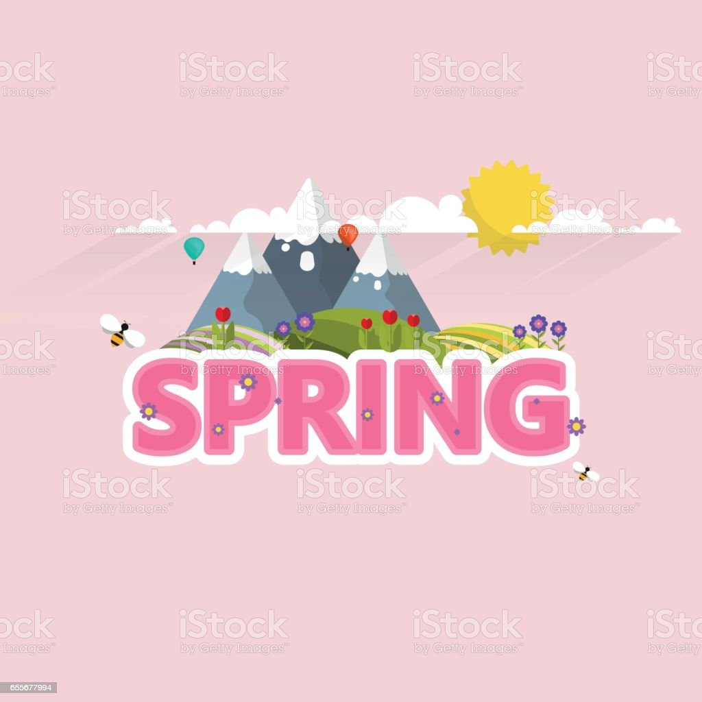 Spring Word In Decorative Vector Design Royalty Free