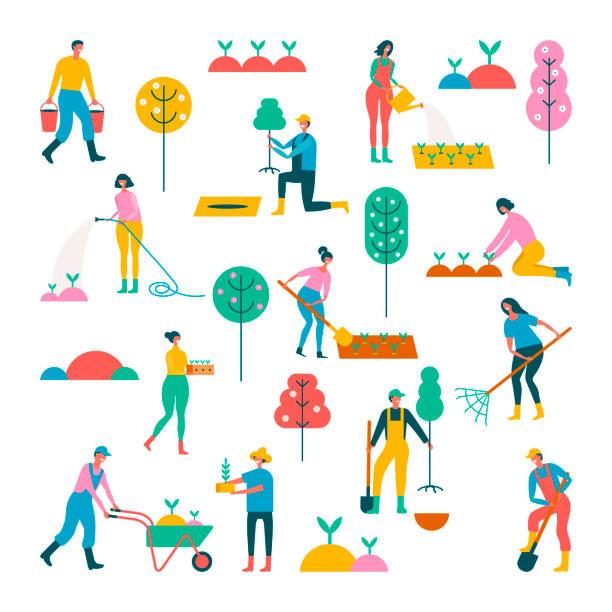 spring work. Set of people People doing garden activities. Set of individual elements gardening stock illustrations