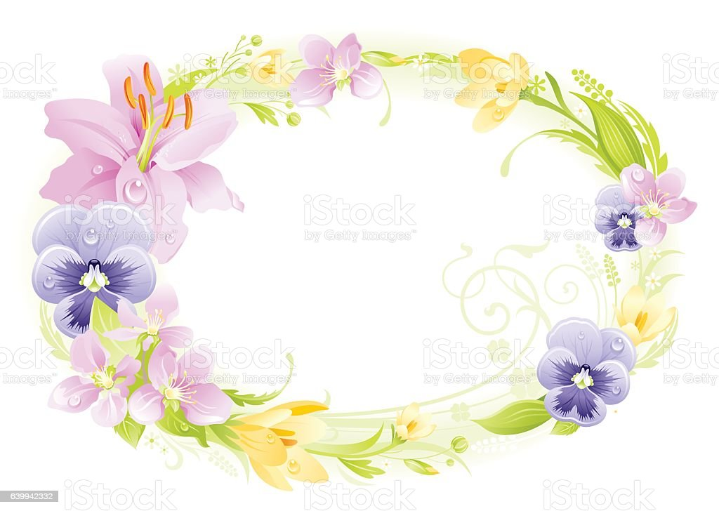 Spring Wreath Frame Easter Mothers Day Birthday Wedding Vector