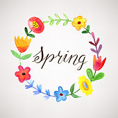 Spring wreath, watercolor floral illustration