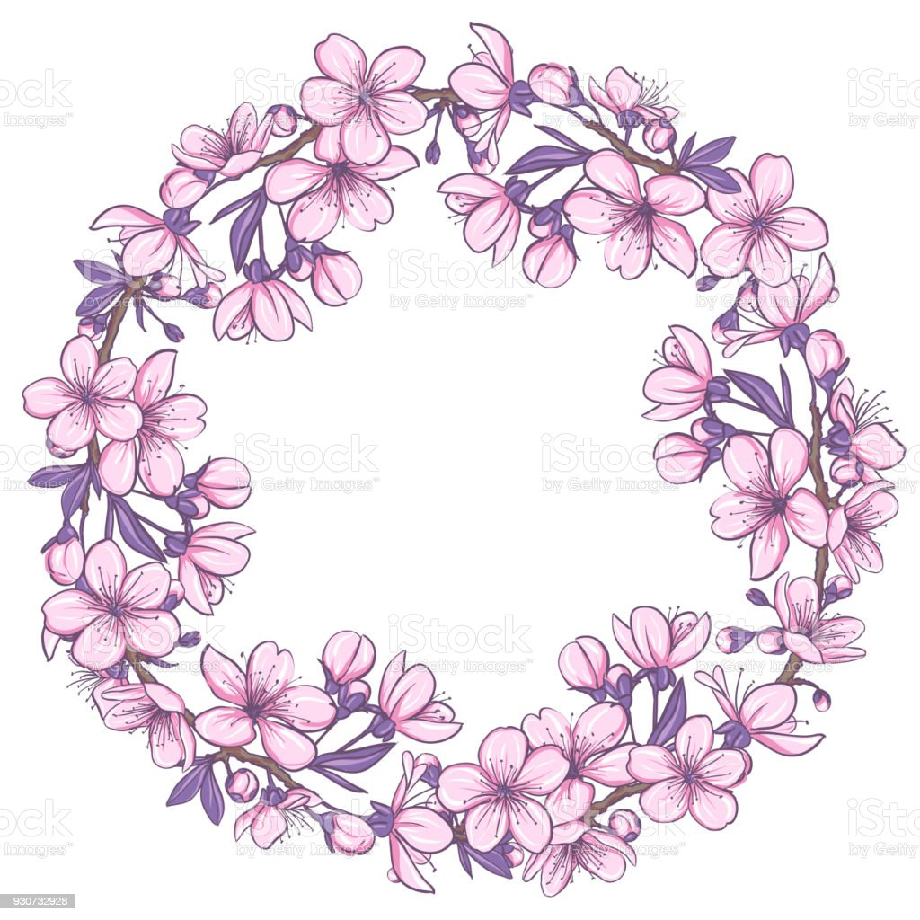 spring wreath with cherry blossoms stock vector art more images of rh istockphoto com Cherry Blossom Drawings Vintage Clip Art Cherry Blossom