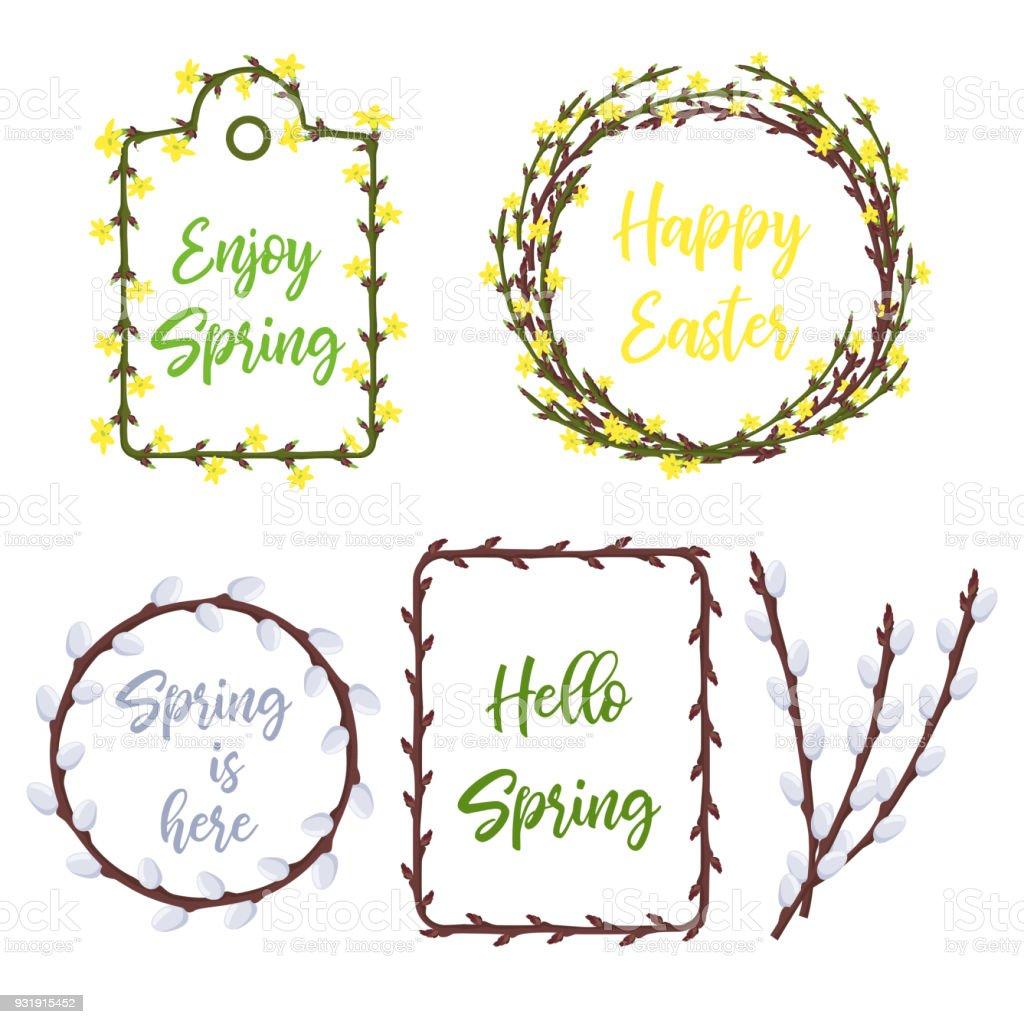 Frühlingkränze Und Frames Eingestellt Schriftzug Und Garten Blumen ...