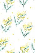 Spring yellow flowers. Vector illustration. 8 march. International Women s Day. For textile print, wrapping paper