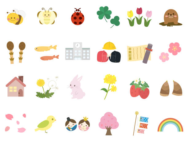 stockillustraties, clipart, cartoons en iconen met spring2 - kinderdag