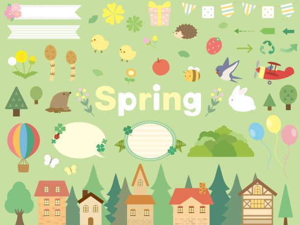stockillustraties, clipart, cartoons en iconen met spring4 - chicken bird in box