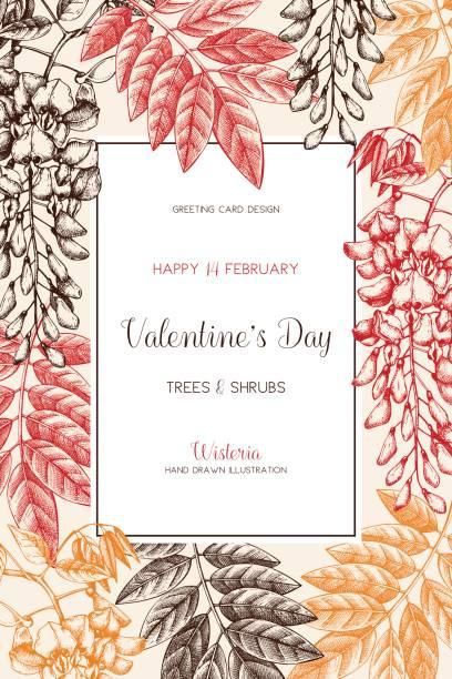 spring_trees_card_4 - robinie stock-grafiken, -clipart, -cartoons und -symbole