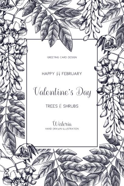 spring_trees_card_5 - robinie stock-grafiken, -clipart, -cartoons und -symbole