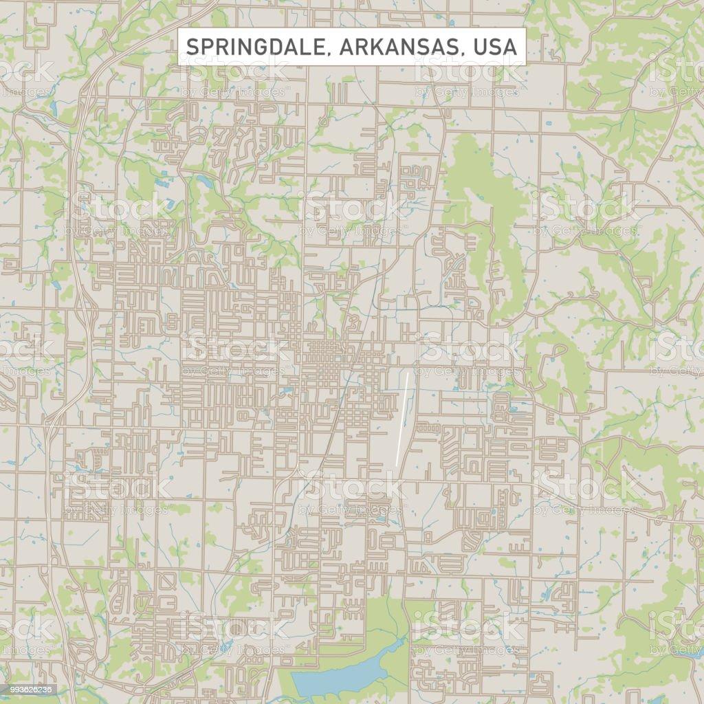 Springdale Arkansas Us City Street Map Stock Illustration ...