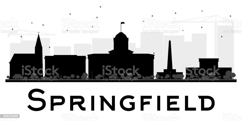 Springfield City skyline black and white silhouette. vector art illustration