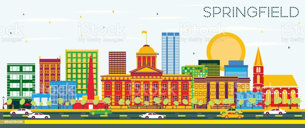 Springfield Skyline with Color Buildings and Blue Sky. vector art illustration