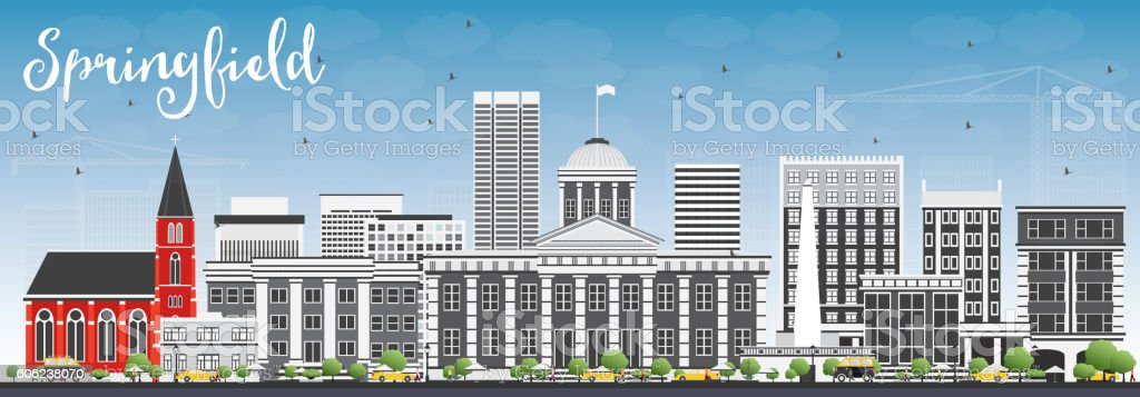 Springfield Skyline with Gray Buildings and Blue Sky. vector art illustration