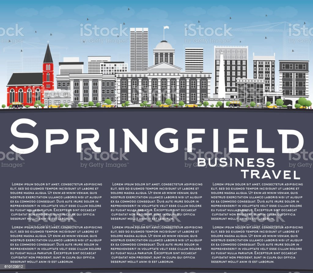 Springfield Skyline with Gray Buildings, Blue Sky and Copy Space vector art illustration