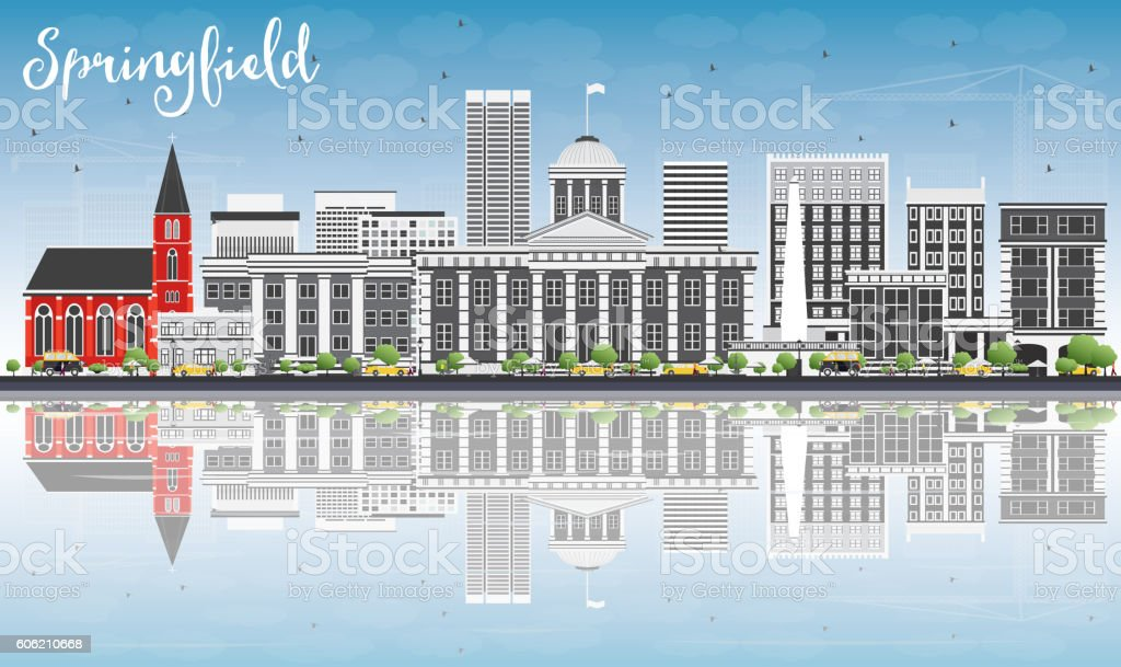 Springfield Skyline with Gray Buildings, Blue Sky and Reflection vector art illustration