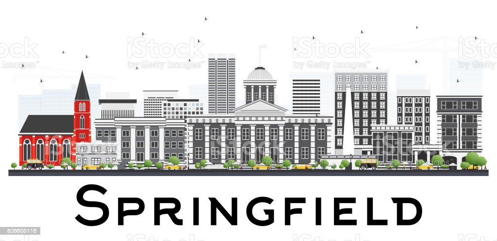 Springfield Skyline with Gray Buildings Isolated on White Background. vector art illustration
