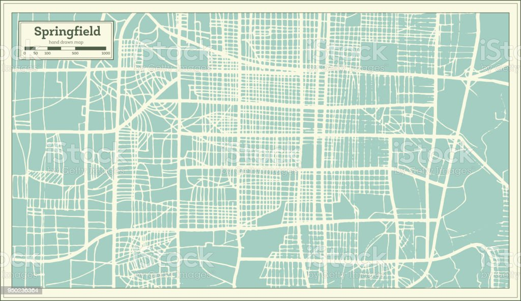 Springfield USA City Map in Retro Style. Outline Map. vector art illustration