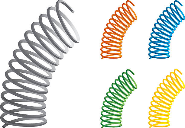 springs in many different colors - curled up stock illustrations