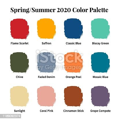 Spring/Summer 2020 Color Palette. Color swatch concept modern style. Color palette guide. Fashion trend. Design guide, catalogue. Vector illustration.