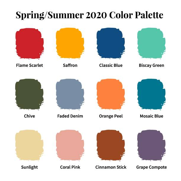 illustrazioni stock, clip art, cartoni animati e icone di tendenza di spring/summer 2020 color palette. color swatch concept modern style. color palette guide. fashion trend. design guide, catalogue. vector illustration. - tavolozza