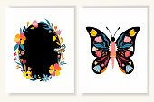 Spring/summer card/invitation/ wedding set with two decorative templates, floral butterfly and floral wreath