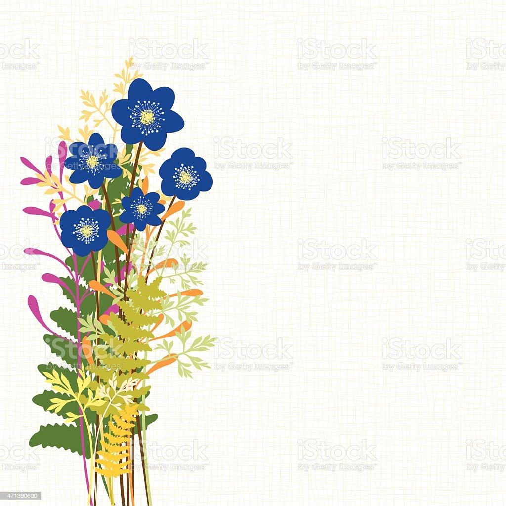 Frühling Blau Hepatica Nobilis mit wilden Gras Hintergrund – Vektorgrafik