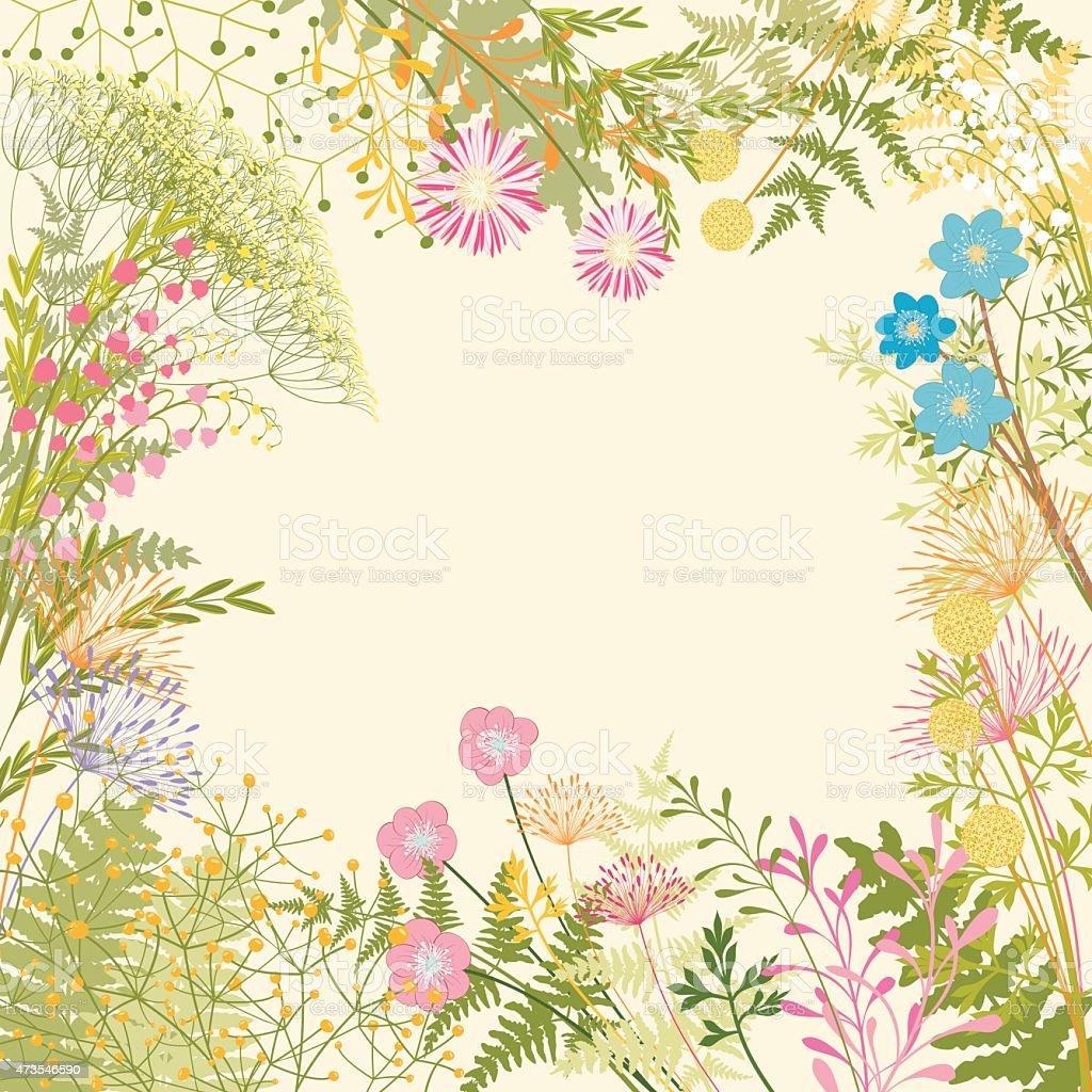 Giardino Di Fiore Primavera Colorato Sfondo Immagini Vettoriali