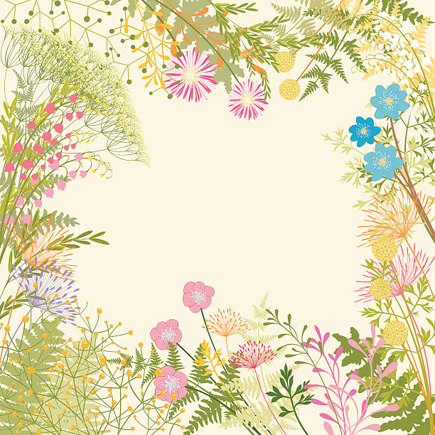 Springtime Colorful Flower Garden Party Background vector art illustration