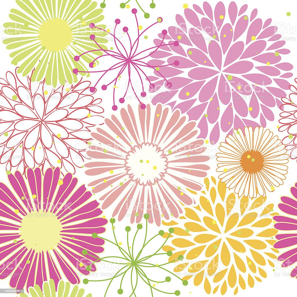 Springtime colorful flower seamless pattern royalty-free stock vector art