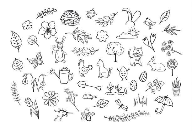 ilustrações de stock, clip art, desenhos animados e ícones de springtime easter outlined hand drawn simple childlike doodles set - lata comida gato