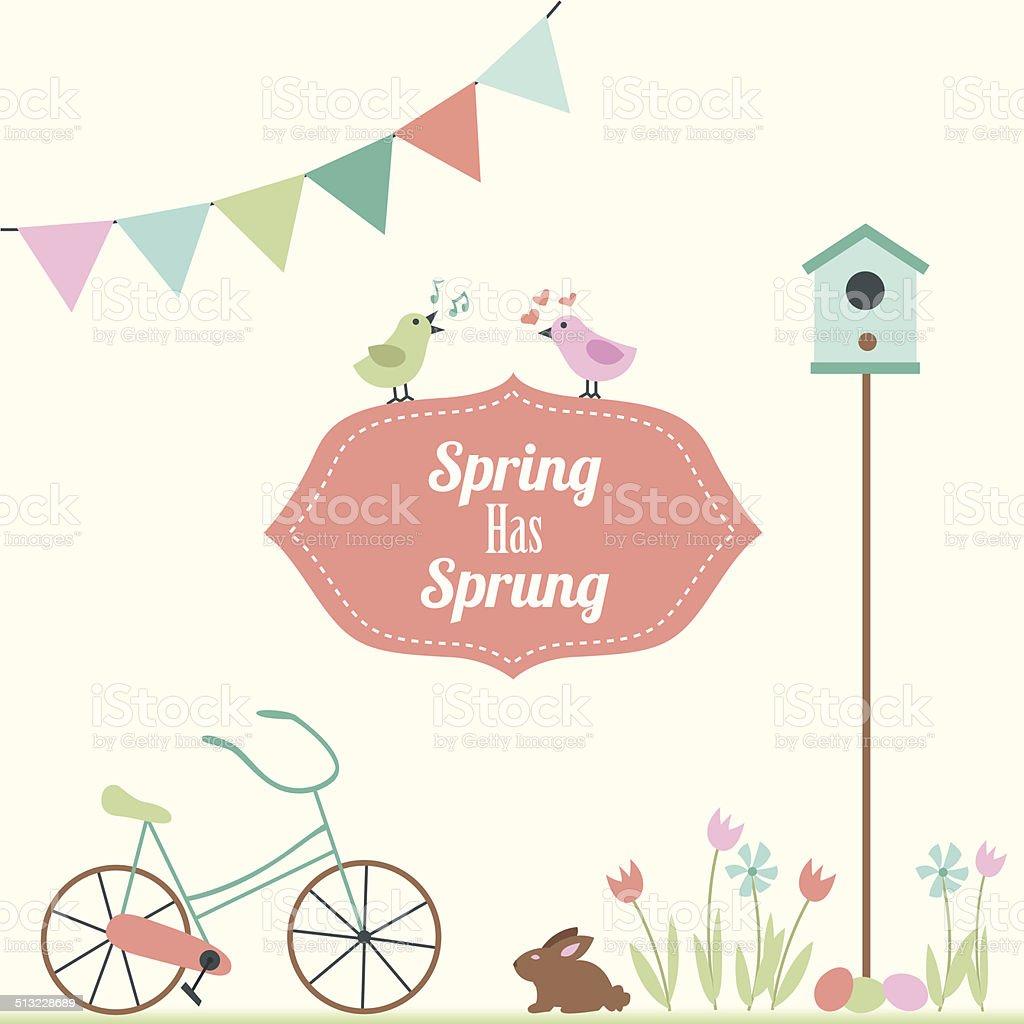 Springtime Elements, Spring Has Sprung vector art illustration