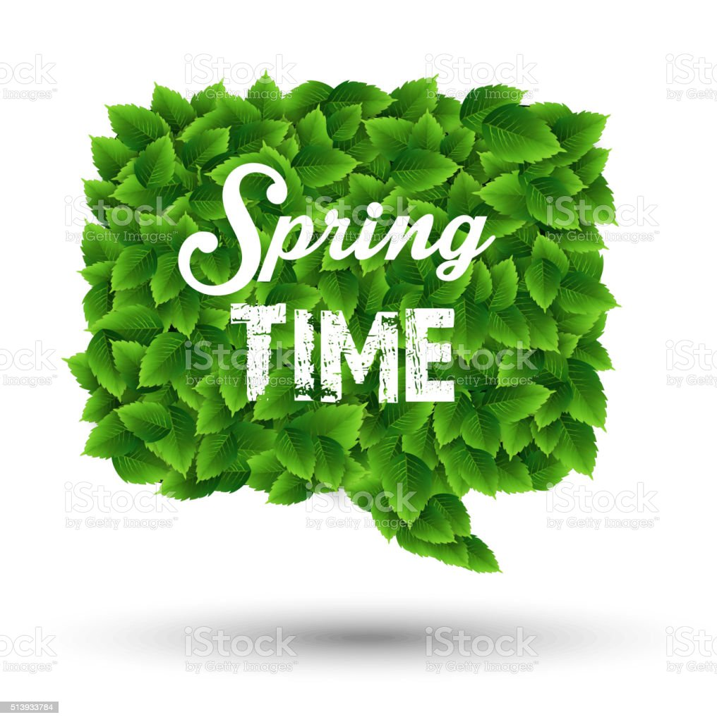 Springtime Greeting In A Speech Bubble Of Green Leaves Stock Vector