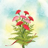 Springtime Red Carnation Flower Background