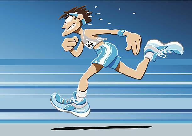Sprinter Cartoon Man Vector Illustration of a fast sprinter. The background is on a separate layer, so you can use the illustration on your own background. The colors in the .eps-file are ready for print (CMYK). Included files: EPS (v8) and Hi-Res JPG. running stock illustrations