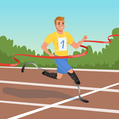 Sprinter with prosthetic legs taking part in running competitions. Athlete with disabilities. Paralympic games. Cartoon sportsman crossing finish tape. Flat vector design