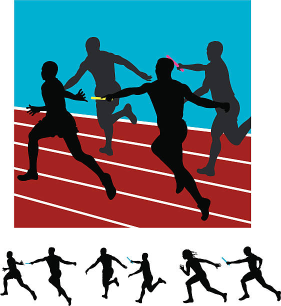 Sprinters Relay Race Track Meet Runners vector art illustration