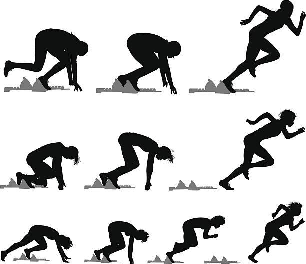 sprinters ランナーレーストラックを満たす-雌 - 陸上競技点のイラスト素材/クリップアート素材/マンガ素材/アイコン素材