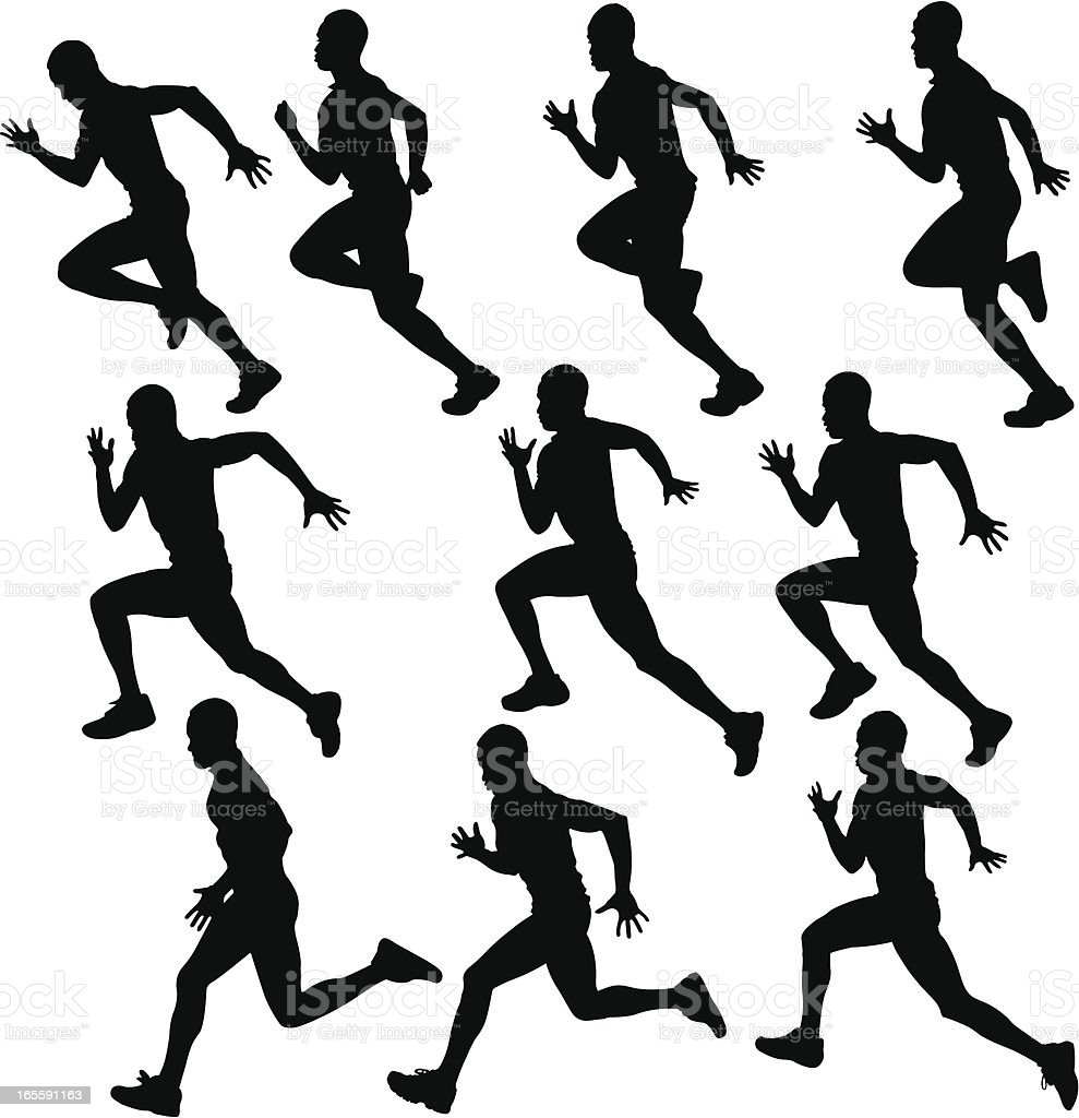 sprinting runner silhouette collection vector art illustration